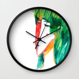 fun watercolor character Wall Clock