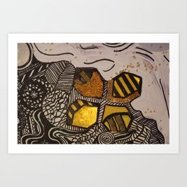 Hive in Gold Art Print