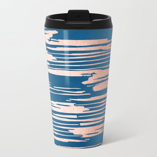 Tiger Paint Stripes - Sweet Peach Shimmer on Saltwater Taffy Teal Metal Travel Mug