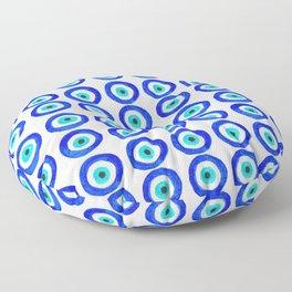 Evil Eye Amulet Talisman - on white Floor Pillow