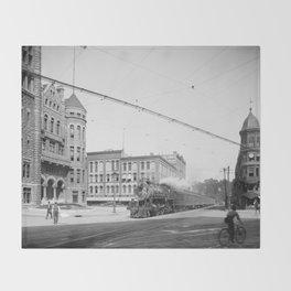 Empire State Express (New York Central Railroad) coming thru Washington Street, Syracuse, N.Y. Throw Blanket