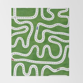 Green Speed Racers Throw Blanket