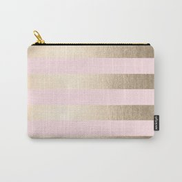 Simply Striped in White Gold Sands and Flamingo Pink Carry-All Pouch
