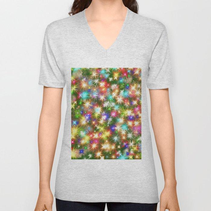 Star colorful christmas abstract Unisex V-Ausschnitt