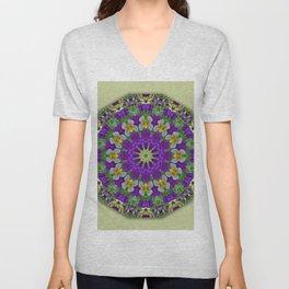 Flower Mandala, Pansies Unisex V-Neck