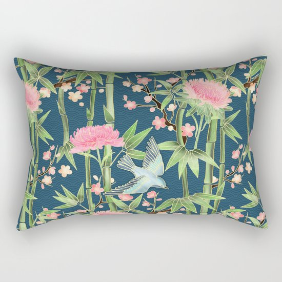 Bamboo, Birds and Blossom - dark teal Rectangular Pillow