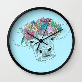 Flower Cow Wall Clock