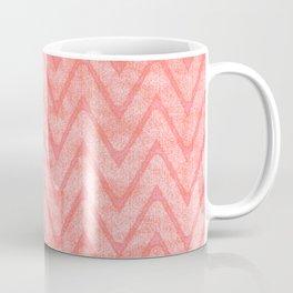 Peach Pink Imitation Velvet Zigzag Pattern Coffee Mug