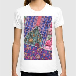 India Patchwork graphic violet T-shirt