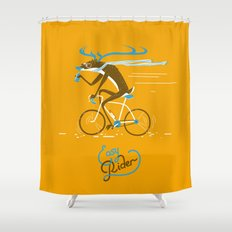 Easy Rider // (cycling hipster deer) Shower Curtain