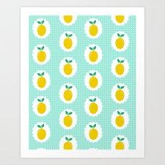 Lemons pastel mint white yellow summer fruit tropical lemonade vacation trendy pattern food print Art Print