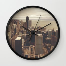 Chicago City Buildings Color Photo Architecture Wall Clock