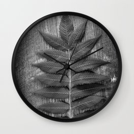 Branch of Ribbed Fern Leaves on Wooden Board Background Wall Clock