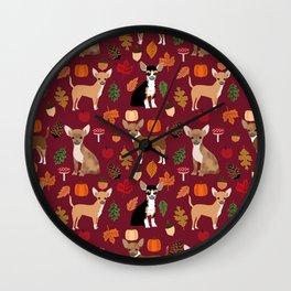 Chihuahua fall autumn pumpkin acorn dog breed chihuahuas pet pattern Wall Clock
