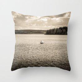 Lonely Ship Buoy Halt Weiterfahrt Verboten Möhne Reservoir Lake sepia Throw Pillow