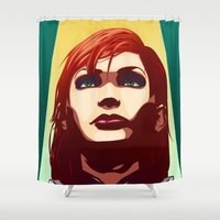 mass effect Shower Curtains featuring Mass Effect - Commander Jane Shepard by AtomicDNA