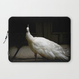 Elegant white peacock vintage shabby rustic chic french decor style woodland bird nature photograph Laptop Sleeve