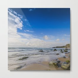 Watergate Bay Stones to Horizon  Metal Print