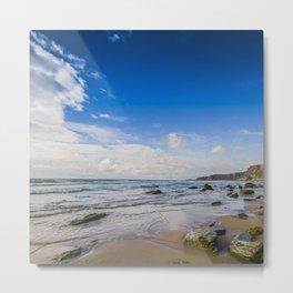 Watergate Bay Stones to Horizon  Metal Print