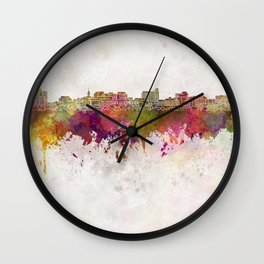 South Portland skyline in watercolor background Wall Clock