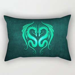Teal Blue Twin Tribal Dragons Rectangular Pillow