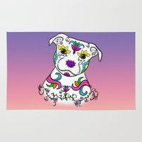 bull terrier Area & Throw Rugs featuring Staffordshire Bull Terrier Sugar Skull by CraftyK9