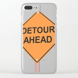 """""""Detour ahead"""" - 3d illustration of yellow roadsign isolated on white background Clear iPhone Case"""