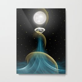 Water Diamond Moon Metal Print