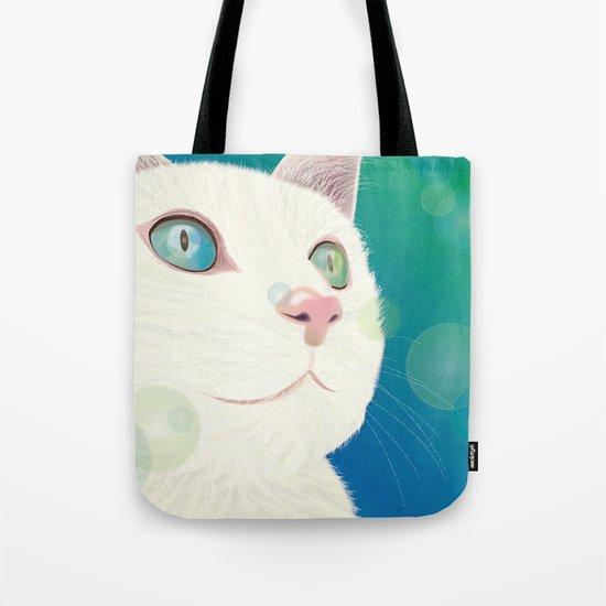Odd-eyed White Cat Tote Bag