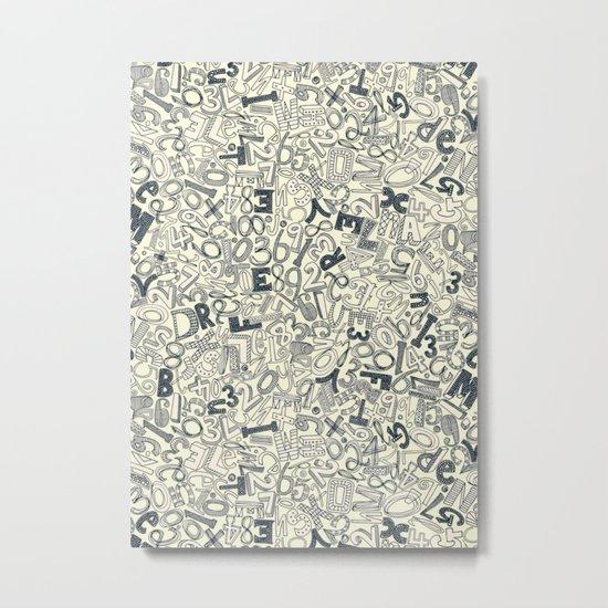 A1B2C3 indigo ivory Metal Print