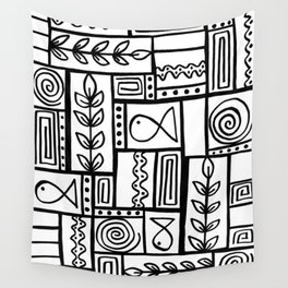 Fishes Seaweeds and Shells - Black and White Wall Tapestry