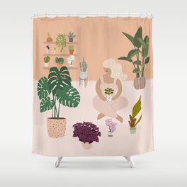 Plant Lady with her favorite plants Shower Curtain