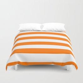 Bright Tumeric Orange and White Wide Horizontal Cabana Tent Stripe Duvet Cover