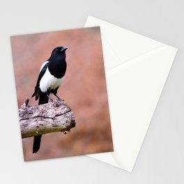 Magpie perched Stationery Cards