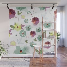 Cute soft spring pattern with flowers Wall Mural