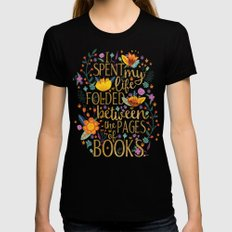 Folded Between the Pages of Books - Floral MEDIUM Black Womens Fitted Tee