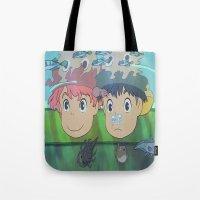 ponyo Tote Bags featuring Ponyo by Susan Lewis