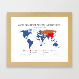 World Map of Social Networks (December 2014) Framed Art Print