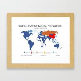 World Map of Social Networks (December 2014) Framed Art Print