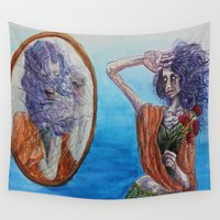 mirror Wall Tapestries featuring Mirror by Katy Dai