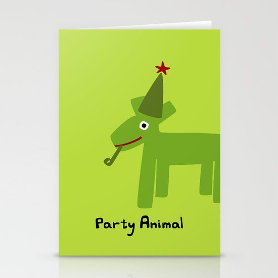 Party Animal-Green Stationery Cards