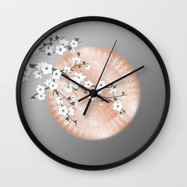Japanese Cherry Blossom Rose Gold Gray Wall Clock