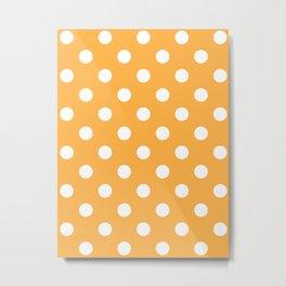 Polka Dots - White on Pastel Orange Metal Print