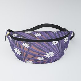 Purple palm with white bloom Fanny Pack