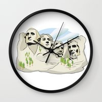 rushmore Wall Clocks featuring Mont Rushmore - United States by Dues Creatius