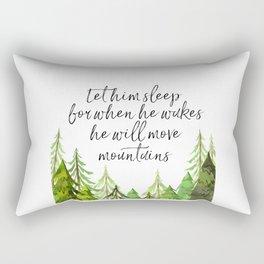 Let Him Sleep For When He Wakes He Will Move Mountains, Art Print, Nursery Decor Rectangular Pillow