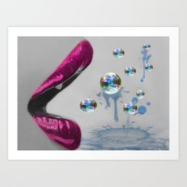 Bubble Lips Art Print