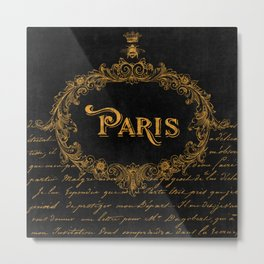 Paris In Gold French Typography Art Metal Print