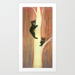 Black bears on tree Art Print