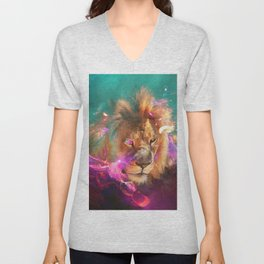Lions Eating Galaxies Unisex V-Neck